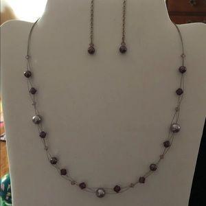 Handmade Purple Swarovski Necklace & Earring Set